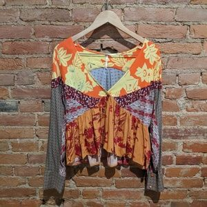 Free People Patchwork Blouse